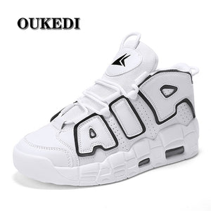OUKEDI Air Cushion Men Running Shoes PU Leather Sneakers Men Breathable Trainers City Runner Shoes White Workout Walking Shoes