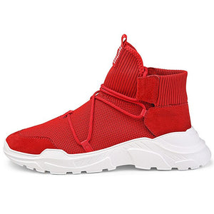 autuspin Winter Sneakers Men High Top Knit Fabric Road Running Shoes Workout Fitness GYM Trainer Classics Men's Sport Sneakers