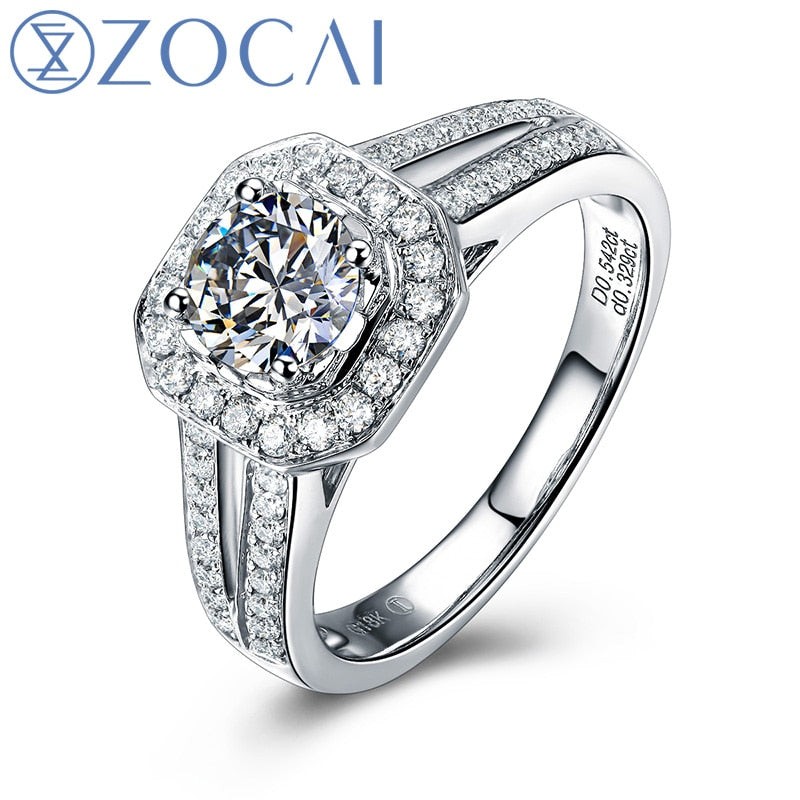 ZOCAI 2014 New Arrival 100% natural diamond 0.82 CT F-G / VS Certified Diamond engagement ring Fine Jewelry W04973