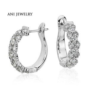 ANI 18k White Gold Women Circle Earrings 2 CT Certified I/S1 Natural Diamond Jewelry Women Engagement Earrings Fashion Design