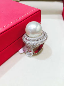 14-15MM big natural southsea pearl ring white 18K white gold with real diamond fine jewelry full of diamond