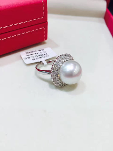 14MM  white Natural southsea pearl ring  18K white gold with diamond  round big pearl ring genuine jewelry fine women jewelry
