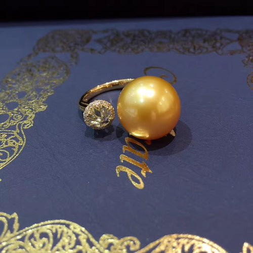 13-14MM  natural southsea gold pearl ring 18K gold with diamond adjustable size fine women  jewelry free shipping