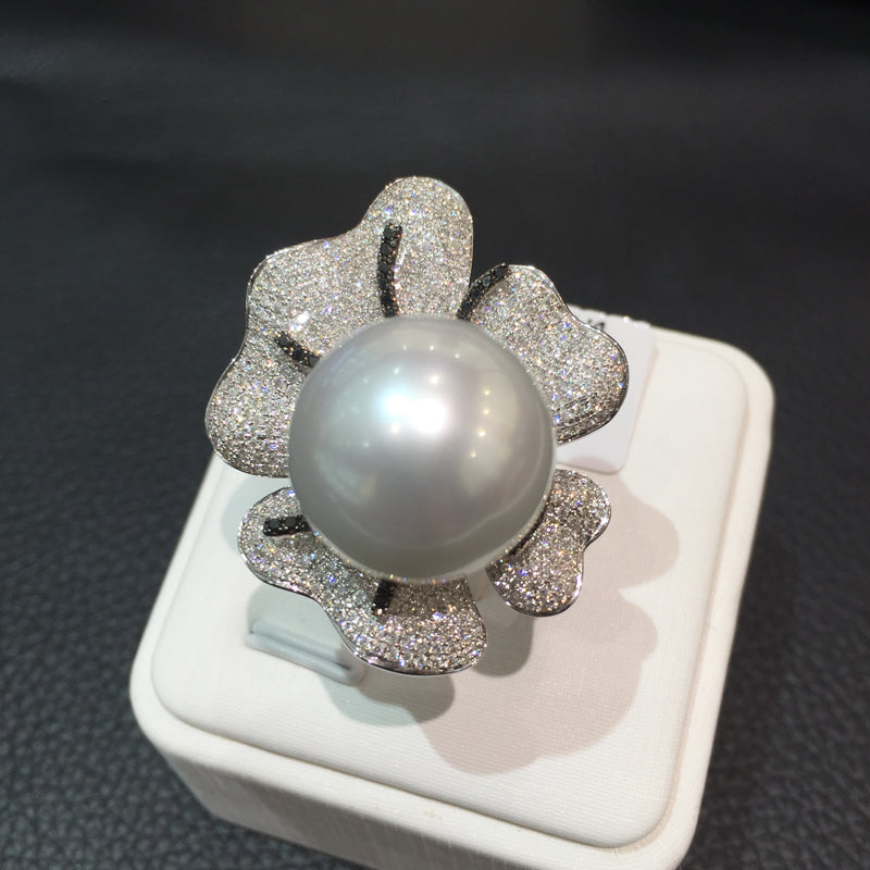 Fine women jewelry 16-17MM Big south pearl ring white 18K gold with diamond flower ring