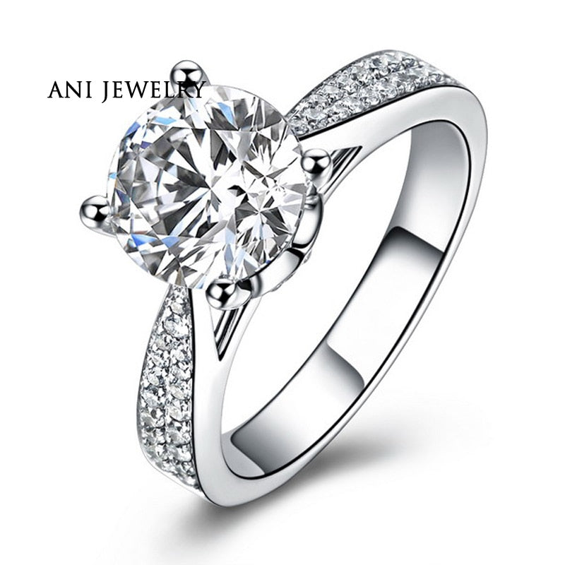 ANI 18K White Gold (AU750) Women Wedding Ring Natural Certified I-J/SI 0.79 CT Round Cut Diamond Luxury Fine Jewelry Customized