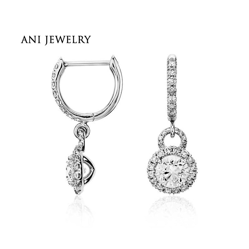 ANI 14k White Gold Women Drop Earrings 1.9 ct Certified I/S1 Natural Diamond Bridal Dangle Earrings for Engagement Party Jewelry