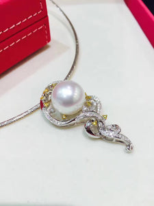 14MM Natural southsea pearl pendant 18K white gold with diamond genuine jewelry fine women jewelry  white pearl  free shipping