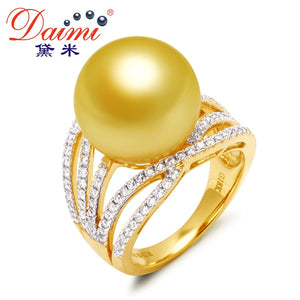 [Daimi] South Sea Pearl Ring, European Style, 14-14.5mm Round Gold  Pearl, 18k Genuine Gold Diamond  Fine Jewelry
