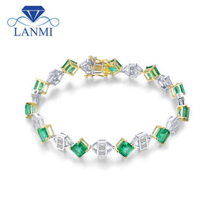 LANMI Luxury Design Promised Jewelry Solid 18K Two Tone Gold Princess Genuine Emerald Diamond Bracelet for Women Loving Gift