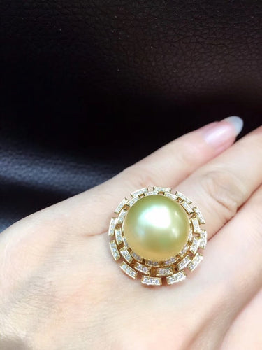 14-15MM  natural big gold pearl ring 18K yellow gold with diamond fine women jewelry free shipping