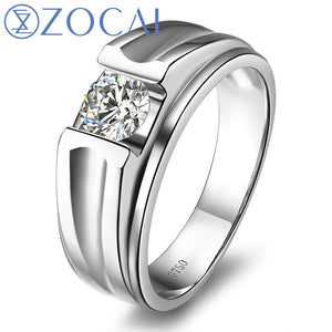 ZOCAI BRAND NATURAL 0.3 CT CERTIFIED F-G/ VS DIAMOND MEN'S WEDDING BAND RING ROUND CUT 18K WHITE GOLD JEWELRY M00491