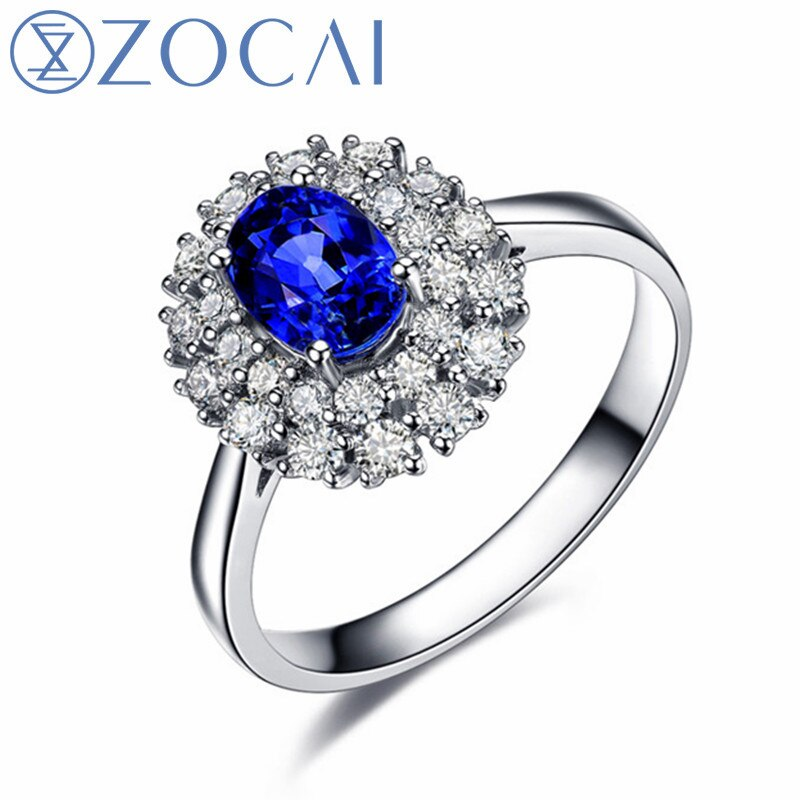 ZOCAI ring Au750 18K white gold 1.6 CT certified Genuine Sapphire diamond ring Gemstone jewelry fine jewelry W06157