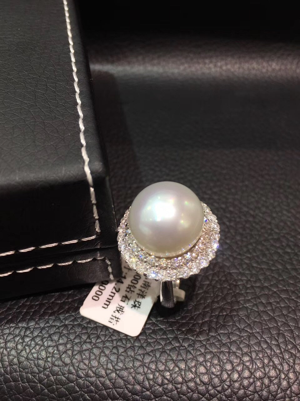 pt900 platinum 14-15MM  natural south pearl ring  white color big pearl ring diamond fine women jewelry free shipping