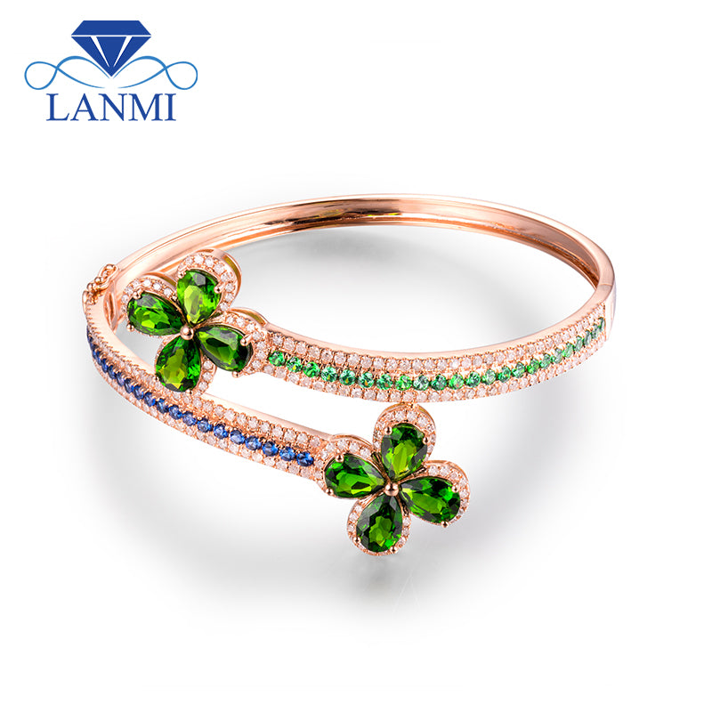 LANMI Solid 14Kt Rose Gold Pear cut Tsavorite Diamond Wedding Bangle with Sapphir and Emerald  for Women Anniversary Jewelry