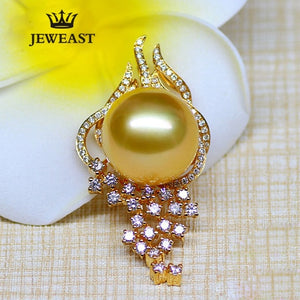 18k Pure Gold Natural Southsea Round Pearl Diamond Pendant Elegant Exquisite Jewelry Female For Party Trendy Gift For Mother