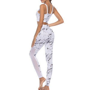 Women's Yoga Sets Athletic Gym Exercise Outfit Crop Top Print Leggings Elasticity Pants Yoga Fitness Sports Tracksuit Jumpsuits