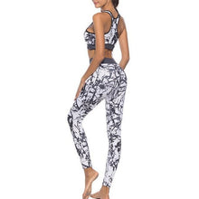 Load image into Gallery viewer, Women's Yoga Sets Athletic Gym Exercise Outfit Crop Top Print Leggings Elasticity Pants Yoga Fitness Sports Tracksuit Jumpsuits