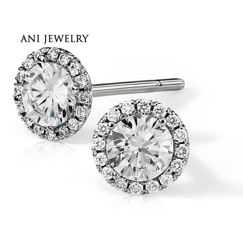 ANI 14K White Gold Women Wedding Stud Earrings 1.06 CT Certified I/S1 Round Cut Real Natural Halo Diamond Earring Fine Jewelry