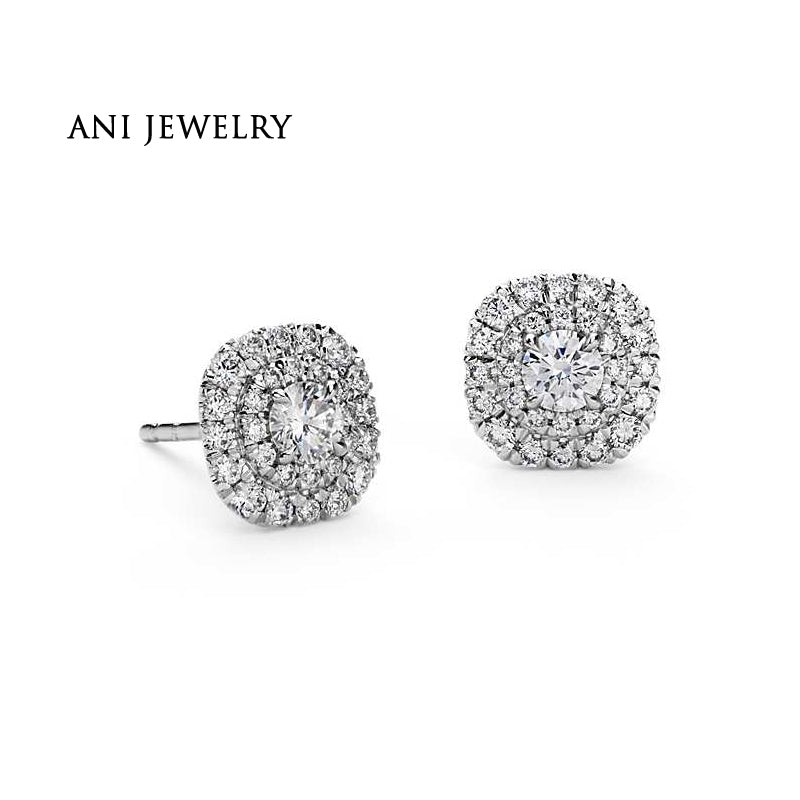 ANI 14K White Gold Women Wedding Diamond Earrings 1.08 CT Certified I/S2 Natural Diamond Jewelry Halo Popular Women Stud Earring