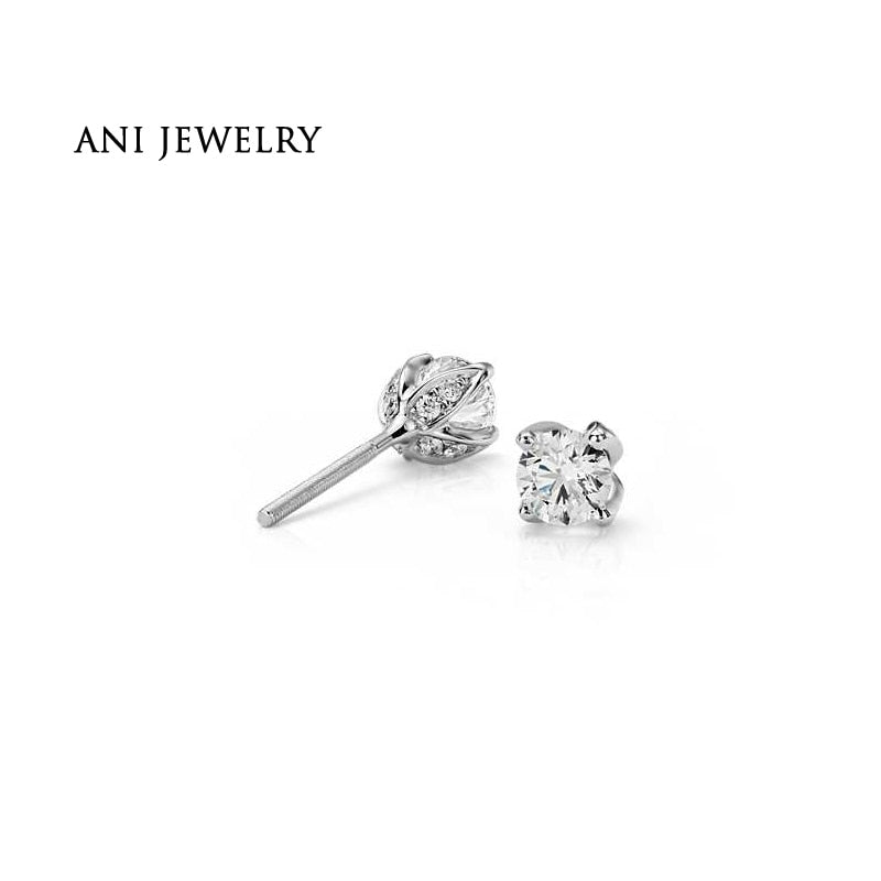 ANI Platinum 950 Women Engagement Stud Earrings 1.07 CT Certified I/SI Natural Diamond Jewelry Gold Earrings aretes PT950