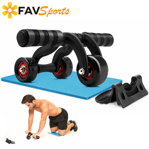 1 Set/ 3pcs Ems Trainer Fitness Abdominal Roller 3 Ab Wheel Neat and Portable Arms Workout Machineadominales with Knee Mat