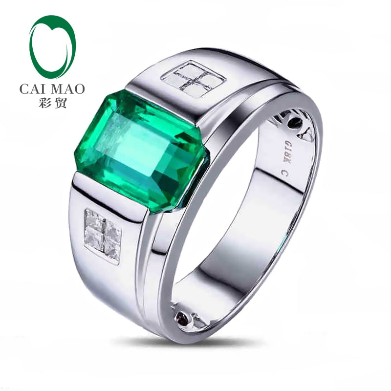 CaiMao 2.88 ct Natural Emerald 18KT/750 White Gold  0.30 ct Full Cut Diamond Engagement Ring Jewelry Gemstone colombian