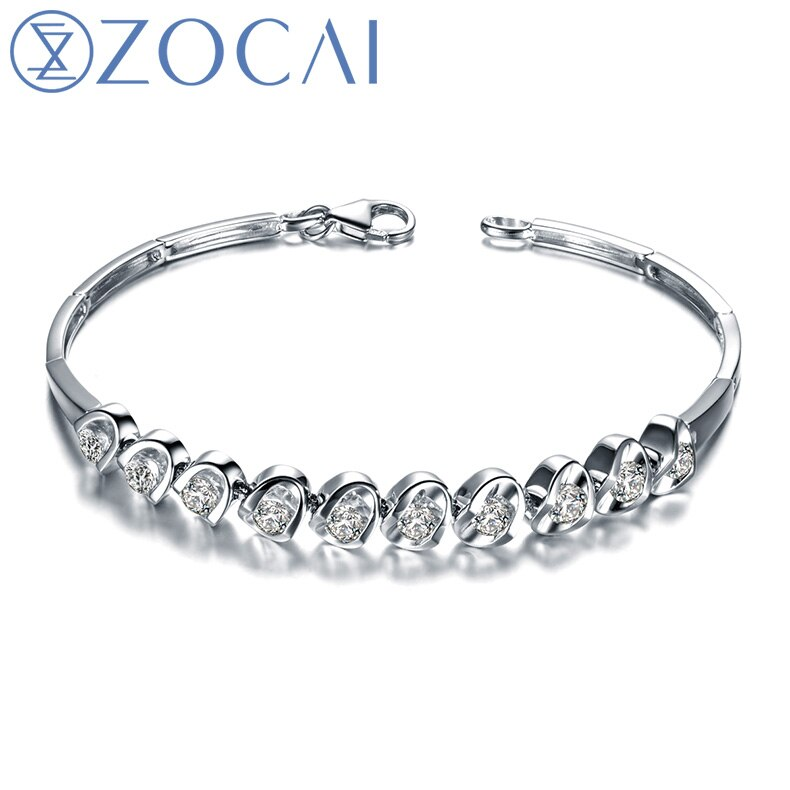 ZOCAI DESIGNER 1.2 CT CERTIFIED DIAMOND 18K WHITE GOLD CHAIN BRACELET JEWELRY BRACELETS BRACLETS BANGLE S00270