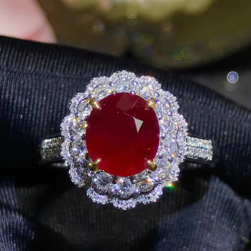 gemstone jewelry factory wholesale classic luxury 18k yellow gold real diamond natural Ruby gold ring for women wedding