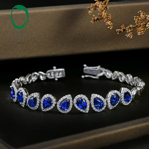 Caimao 5.71ctw Genuine Tear Drop Sapphire and Diamond Jewelry 18kt White gold Gorgeous Bracelet