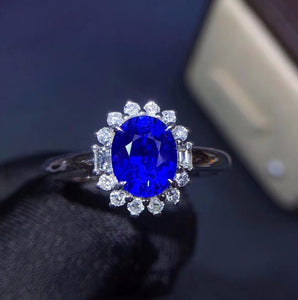 Fine Jewelry Real 18K White Gold 100% Natural 1.7ct Blue Sapphire Gemstone 18k Gold Diamonds Stone Female Ring for Women Rings