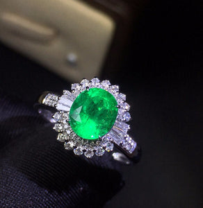 Fine Jewelry Customized Collection Real 18K White Gold 100% Natural Emerald Gemstone Female Wedding Rings for women Fine Ring