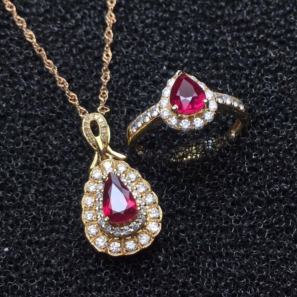 wholesale SGARIT Ruby natural gemstone 18K gold ring pendant necklace jewelry set for women engagement wedding anniversary