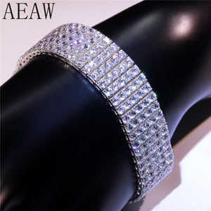 AEAW 14K 585 White Gold 31.5 CTW F Color 266pcs 3mm Moissanite Bangle Bracelets Lab Diamond Bangle for Women Fine Jewelry