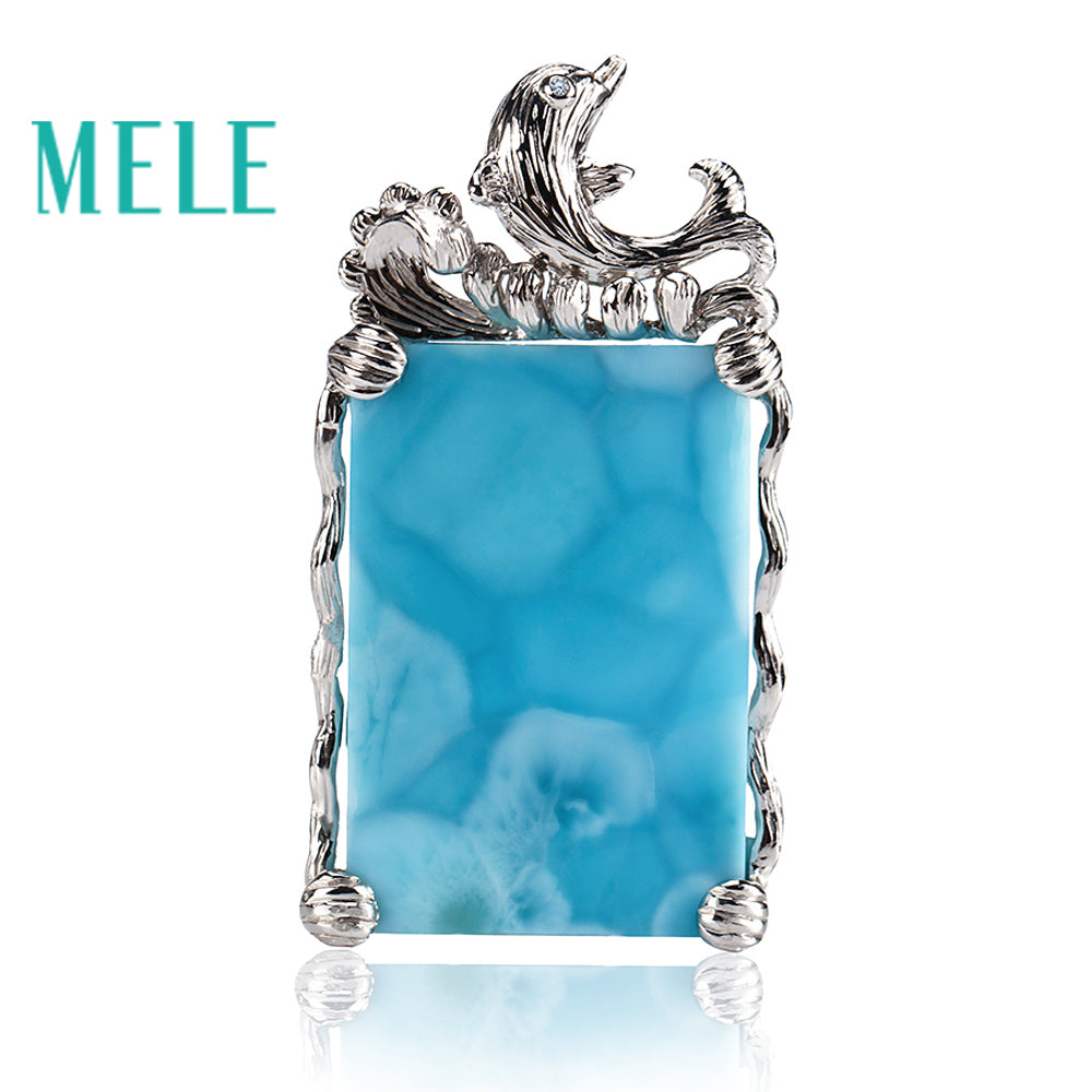 Top quality 18k gold jewelry pendant with natural larimar gemstone,diamonds dolphin shape,Fashion noble atmosphere jewelry