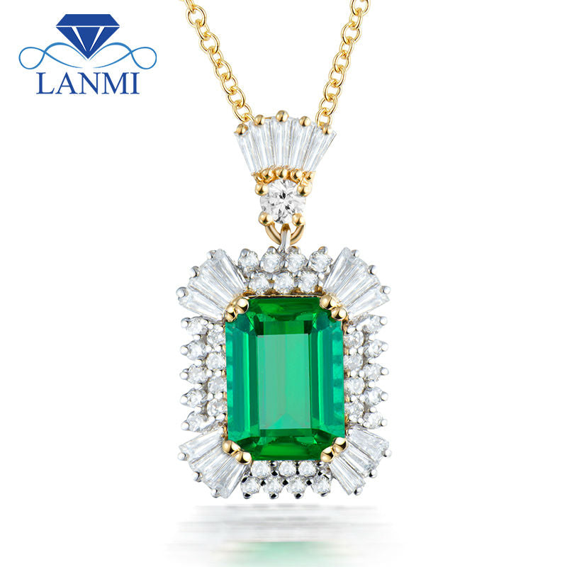 Luxury Women Jewelry Emerald Cut 7x9mm Gemstone Solid 18K Two Tone White Yellow Gold Natural Diamond Emerald Pendant Necklace