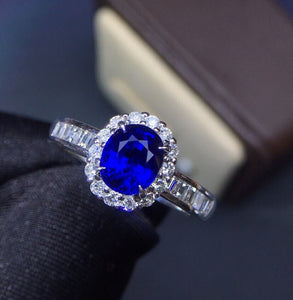 Fine Jewelry Real 18K White Gold 100% Natural 1.55ct Blue Sapphire Gemstone 18k Gold Diamonds Stone Women Ring for Female Rings