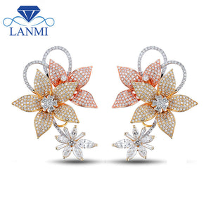 Fashion Young Lady Drop Earrings Jewelry Engagement Diamond Earrings 14K Multi Tone Whit Gold Jewelry for Women Wedding Gift