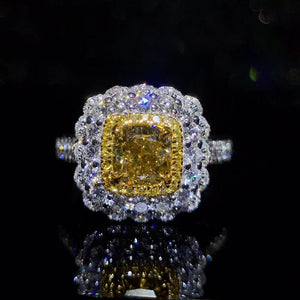 Royal jewelry supplier wholesale classic luxury 18k white gold real natural yellow diamond ring for women wedding engagement