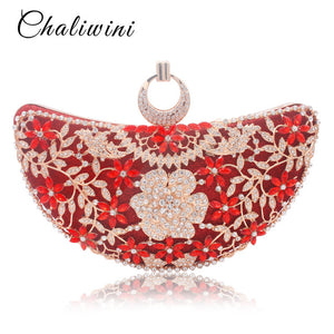 Chaliwini Rings Moon Hollow Out Floral Lady Clutch Bag Red Dimond Handbag Crystal Toiletry Day Phone Interior Package And Purse