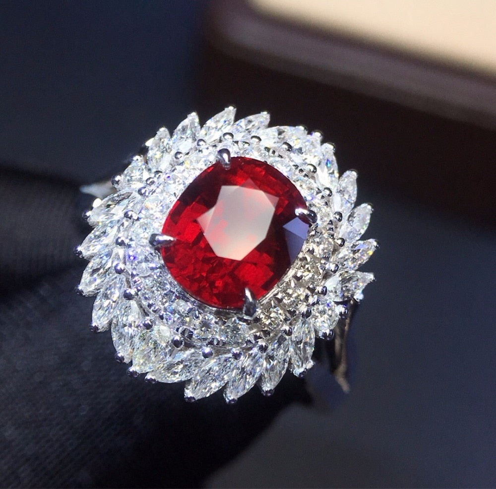 Fine Jewelry Real 18K White Gold 100% Natural 2.04ct Red Ruby Gemstone 18k Gold Diamonds Stone Female Ring for Women Rings