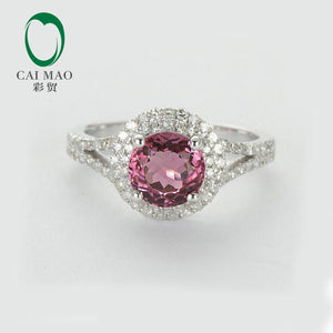 NEW!! 14KT White Gold Natural IF Tourmaline & Dimonds Engagement Ring Free Shipping