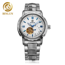 Load image into Gallery viewer, BINLUN Men's Automatic Mechanical Luxury Watches Tourbillon Stainless Steel Large Face Water Resistant Watch Wkeleton Dimonds