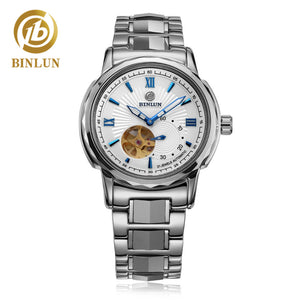 BINLUN Men's Automatic Mechanical Luxury Watches Tourbillon Stainless Steel Large Face Water Resistant Watch Wkeleton Dimonds