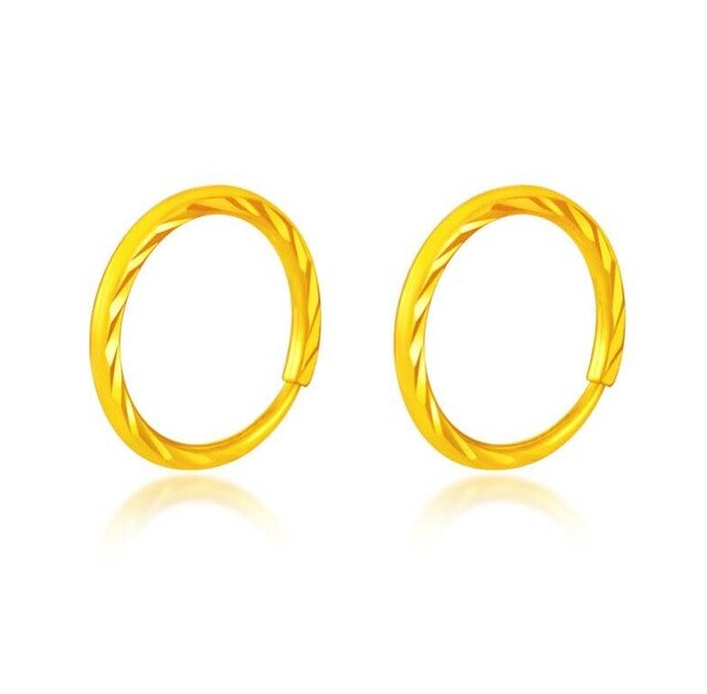 Pure 24K Yellow Gold Earrings Round Dimond Cut Hoop 1.8g