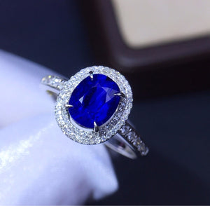 Fine Jewelry Real 18K Rose Gold 100% Natural 1.46ct Blue Sapphire Gemstone 18k Gold Diamonds Stone Female Ring for Women Rings