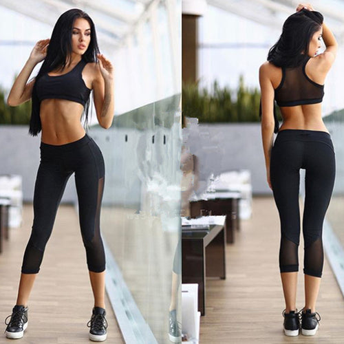 Yoga Set Fitness Clothing Black Solid Sports Women Gym Fitness Outfit Workout Clothing Bra+set 2 Piece Set Exercise Clothes