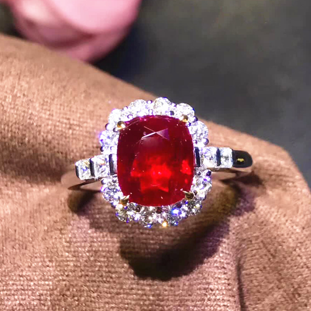fine jewelry wholesale classic 18k white gold South Africa real diamond 2.5ct natural red ruby ring for women wedding engagement