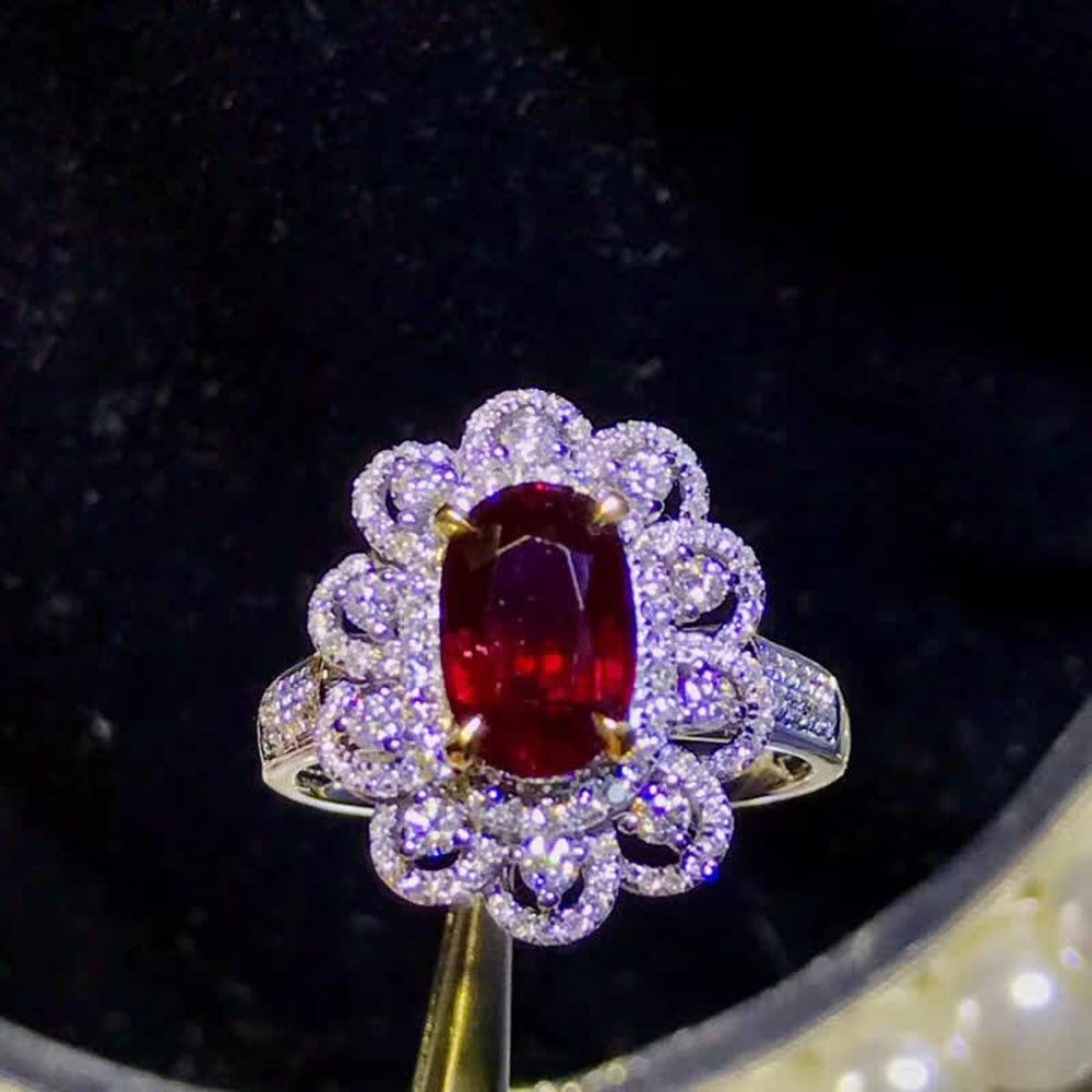 gemstone jewelry factory wholesale classic luxury 18k yellow gold South Africa real diamond natural ruby ring for women wedding