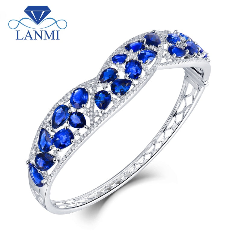 LANMI Bracelet Solid 18K White Gold Blue Sapphire Sparkly Diamond Bangle for Women Natural Gemstone Wedding Jewelry Love Gift