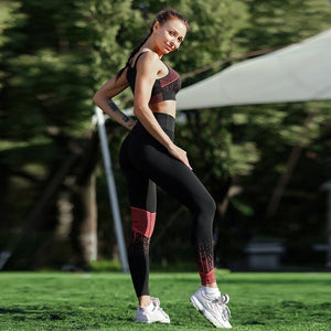 Women Yoga Set Fitness Clothing 2 Piece Sport Leggings Sets Crop Top Compression Pants Gym Exercise Clothing Work Out Outfit